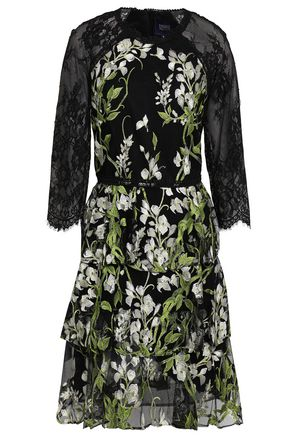 MARCHESA NOTTE Lace-paneled embroidered tiered tulle mini dress