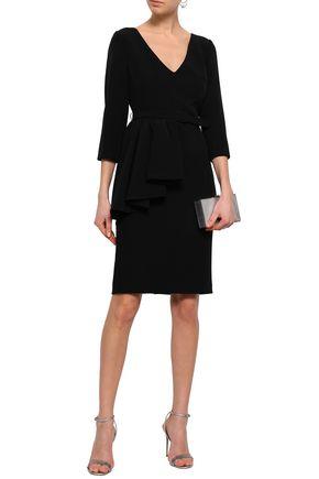 BADGLEY MISCHKA Draped stretch-crepe dress