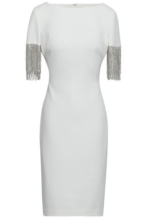 BADGLEY MISCHKA Crystal-fringed stretch-crepe dress