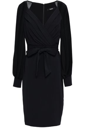 BADGLEY MISCHKA Belted chiffon-paneled crepe dress