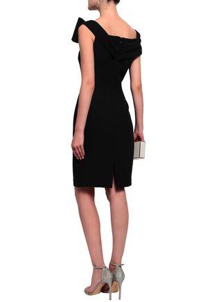 BADGLEY MISCHKA Embellished off-the-shoulder stretch-crepe dress