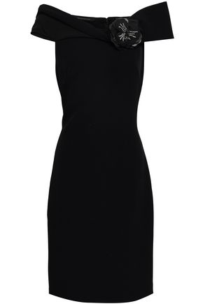 BADGLEY MISCHKA Embellished off-the-shoulder stretch-crepe dress