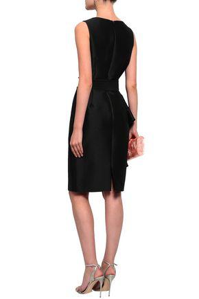 BADGLEY MISCHKA Belted ruffled satin-twill dress