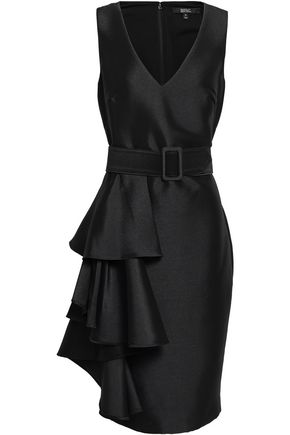 BADGLEY MISCHKA Belted ruffled satin-twill dress
