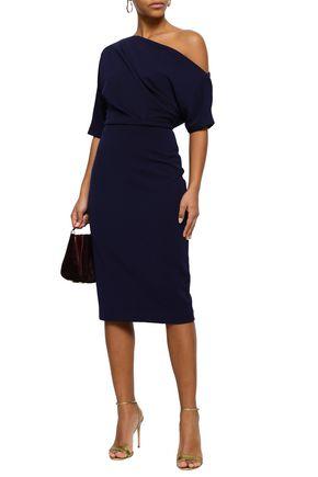 BADGLEY MISCHKA One-shoulder stretch-ponte dress