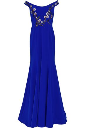 MARCHESA NOTTE Off-the-shoulder embellished stretch-crepe gown