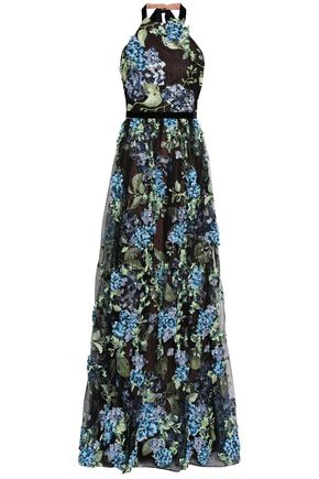 MARCHESA NOTTE Floral-appliquéd embroidered point d'esprit halterneck gown