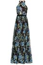 MARCHESA NOTTE Floral-appliquéd embroidered point d'esprit halterneck gown