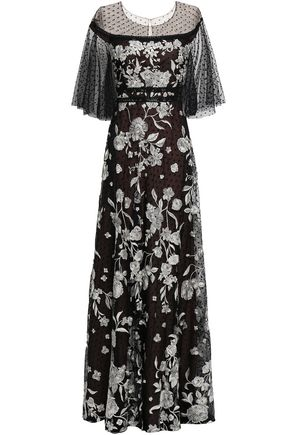 MARCHESA NOTTE Embellished point d'esprit-paneled tulle gown