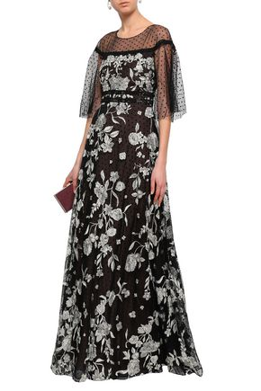 bfbaf2d2 MARCHESA NOTTE Embellished point d'esprit-paneled tulle gown
