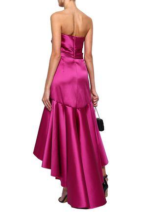 MARCHESA NOTTE Strapless ruched duchesse-satin gown