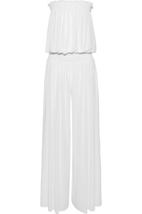NORMA KAMALI Strapless gathered jersey jumpsuit