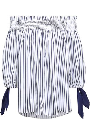 CAROLINE CONSTAS Off-the-shoulder striped cotton-jacquard top