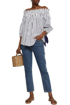 CAROLINE CONSTAS Off-the-shoulder striped cotton-jacquard top