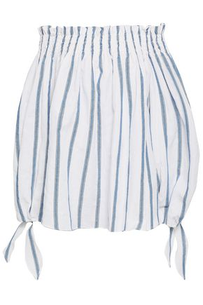 CAROLINE CONSTAS Off-the-shoulder metallic striped cotton-blend top