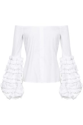CAROLINE CONSTAS Off-the-shoulder ruffled cotton-blend poplin top