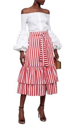 be9ff4215b03 CAROLINE CONSTAS Off-the-shoulder ruffled cotton-blend poplin top