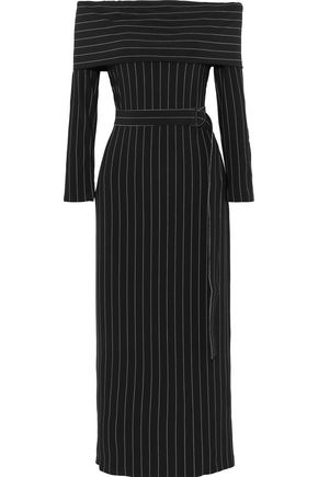 NORMA KAMALI Off-the-shoulder belted pinstriped stretch-crepe midi dress