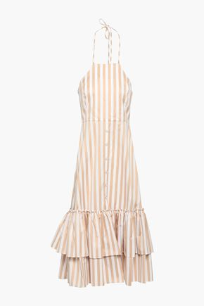 CAROLINE CONSTAS Tiered striped cotton-poplin halterneck midi dress