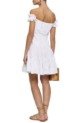 CAROLINE CONSTAS Off-the-shoulder cotton-blend poplin mini dress