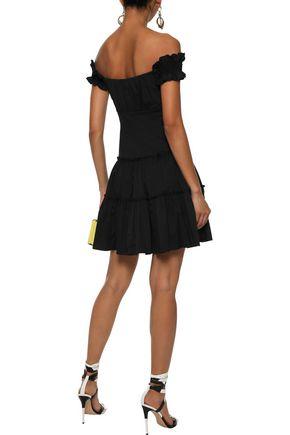 CAROLINE CONSTAS Maria off-the-shoulder stretch-cotton poplin mini dress