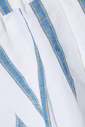 CAROLINE CONSTAS Pleated metallic striped cotton-blend shorts