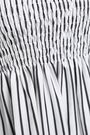 CAROLINE CONSTAS Off-the-shoulder smocked striped cotton mini dress