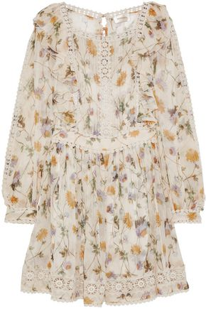 ZIMMERMANN Rife Dandelion crochet-trimmed floral-print georgette mini dress