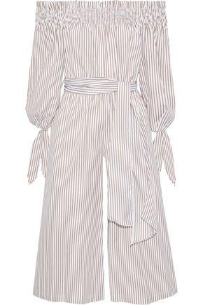 CAROLINE CONSTAS Lou off-the-shoulder cropped striped cotton-poplin jumpsuit