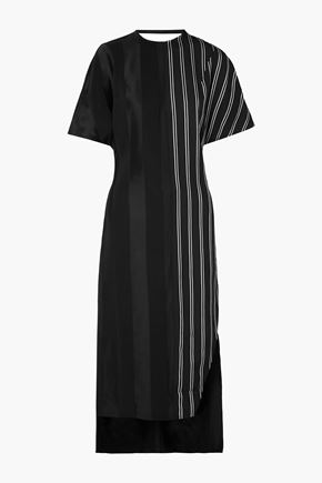 ESTEBAN CORTAZAR Paneled striped sateen midi dress