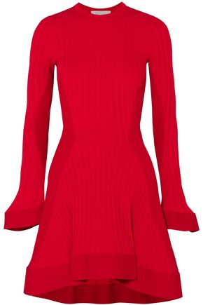 ESTEBAN CORTAZAR Paneled ribbed and stretch-knit mini dress