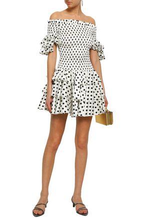 CAROLINE CONSTAS Off-the-shoulder smocked polka-dot silk-blend satin mini dress
