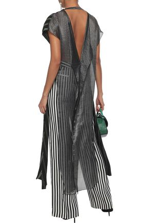 ESTEBAN CORTAZAR Draped striped twill and metallic chiffon tunic