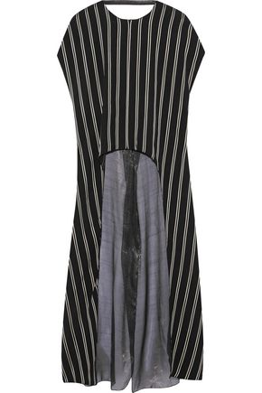 ESTEBAN CORTAZAR Draped striped twill and metallic chiffon tunic
