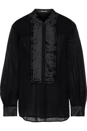 ROBERTO CAVALLI Ruffle-trimmed pintucked silk-satin and georgette shirt