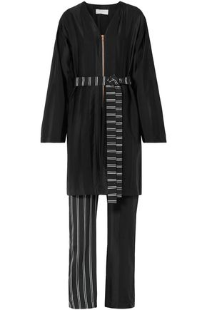 ESTEBAN CORTAZAR Tie-front layered paneled sateen jumpsuit