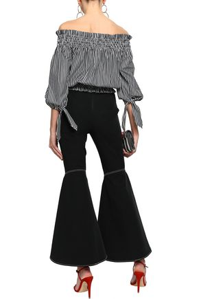 CAROLINE CONSTAS Off-the-shoulder striped cotton top