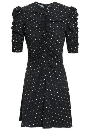 DE LA VALI Ruched polka-dot crepe de chine mini dress