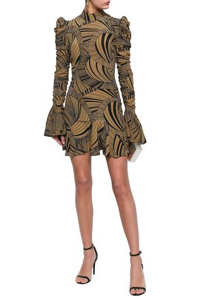DE LA VALI Puma ruched printed silk crepe de chine mini dress