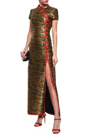 DE LA VALI Satin-trimmed zebra-print jacquard maxi dress