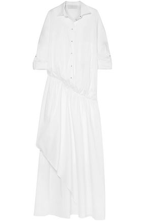 ESTEBAN CORTAZAR Asymmetric cotton-blend poplin maxi shirt dress
