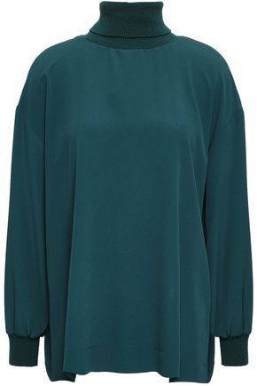M MISSONI Silk-blend crepe de chine and knitted turtleneck top