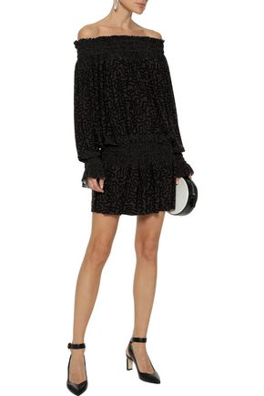 NORMA KAMALI Spliced Peasant off-the-shoulder printed stretch-jersey mini dress