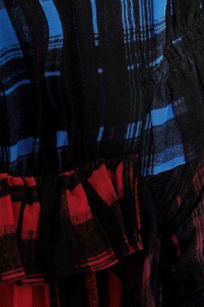 PREEN LINE Anz paneled checked crepe de chine shirt dress