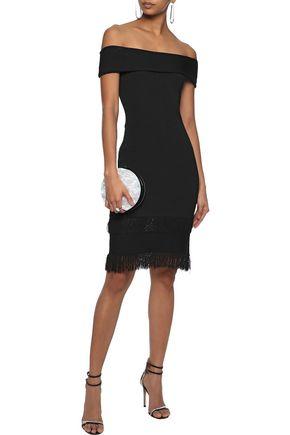 SACHIN & BABI Serena off-the-shoulder fringed stretch-knit dress