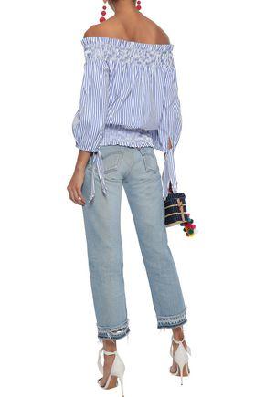 CAROLINE CONSTAS Lou off-the-shoulder cropped striped cotton-poplin top