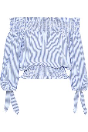 CAROLINE CONSTAS Lou off-the-shoulder cropped striped cotton-poplin top