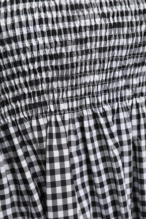 CAROLINE CONSTAS Off-the-shoulder shirred gingham cotton mini dress