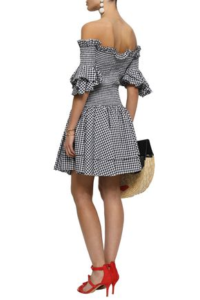 CAROLINE CONSTAS Off-the-shoulder shirred gingham cotton mini dress