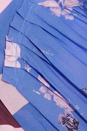 PREEN LINE Daisy paneled printed crepe de chine midi wrap dress